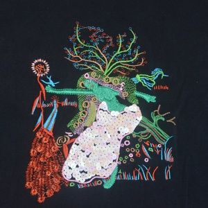 D&G Black Embroidered Sequin T-Shirt